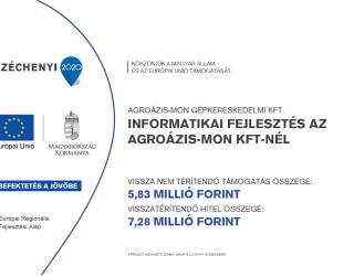 Az AGROÁZIS-MON Gépkereskedelmi Korlátolt Felelősségű Társaság sikerrel pályázott a GINOP-3.2.2-8-2-4-16-2020-02050 azonosító számú projektjével